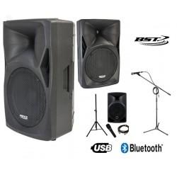 location Pack de 2 Enceintes sono BST 600 w avec USB et BT, micro et pieds Vannes